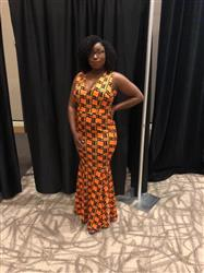 Elisa W. verified customer review of Zahra African Print V-Neck Formal Gown (Black/Yellow Kente)- Clearance
