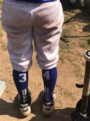 Sherry L. verified customer review of Royal/White Player Id Custom Over The Calf Number Socks (Pair)