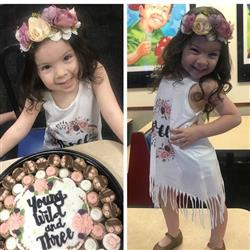 Denisse Rios verified customer review of « BOHO FLORAL THIRD BIRTHDAY » KID'S FRINGE DRESS