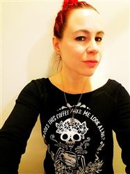 Chrisinda L. verified customer review of « COFFEE SKELETON » WOMEN'S SLOUCHY WIDENECK SWEATSHIRT
