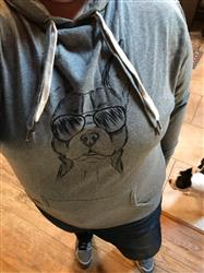 Tina M. verified customer review of Scout the Boston Terrier - Grey French Terry Hooded Sweatshirt