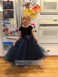 Jenna verified customer review of Navy Blue Velvet Tulle Cap Sleeve Wedding Flower Girl Dress with Champagne Sash\Bow