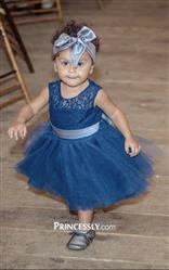 Ashley verified customer review of Navy Blue Lace Tulle Flower Girl Dress Keyhole Back with Blush Pink Bow Belt