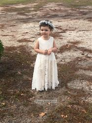 Kayla verified customer review of Ivory Lace Champagne lining Flower Girl Dress with silver sash