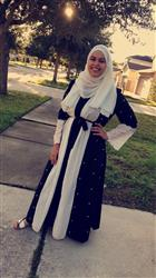 Kristalyn B. verified customer review of Black and White Pearl Open Front Abaya