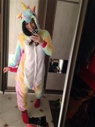 Freddy Bayer verified customer review of Adult Rainbow Unicorn Onesie Costume / Pajamas