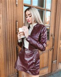 Julia M. verified customer review of Faux Leather Or Worse Cropped Jacket in Burgundy