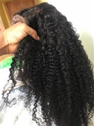 Camella Ravalier verified customer review of Shela hair 360 Lace Frontal Wig Afro Kinky Curly 170% Density Preplucked natural hair line with baby hair