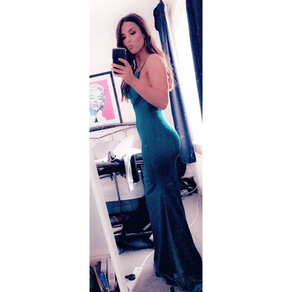 Katie B. verified customer review of Glamour Girl Gown Green