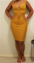 Carley verified customer review of Lisa Bodycon Bandage Dress-Gold
