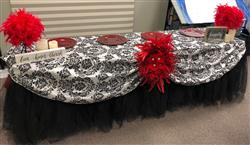 Rebecca E. verified customer review of 120 Black Round Flocking Damask Rectangular Tablecloths