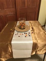 Douglas L. verified customer review of 60x126 Gold Satin Rectangular Tablecloth