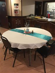 Peggy B. verified customer review of 12x108 Blue Satin Table Runner