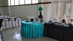 Georgette S. verified customer review of 120 Turquoise Premium Sequin Round Tablecloth