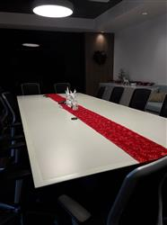 Felicity S. verified customer review of 14x108 Red Grandiose Rosette Satin Table Runner