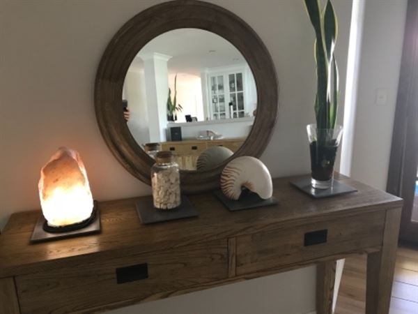 Monica Z. verified customer review of Oasis White Washed Oak Round Wall Mirror