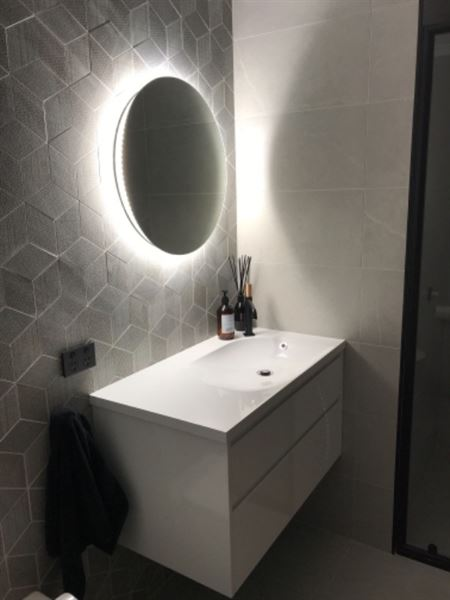 Deb I. verified customer review of Twilight Round Bathroom Mirror With LED Light Backing Backlit TG