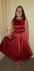 Mari P. verified customer review of Ruby Red Satin Hepburn Juhlamekko
