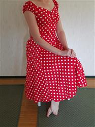 Elina R. verified customer review of Dolores Doll Red Polka Dot 50-luvun mekko