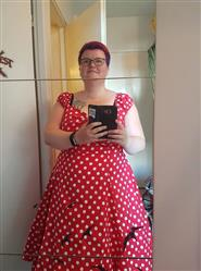 Kaisa V. verified customer review of Dolores Doll Red Polka Dot 50-luvun mekko