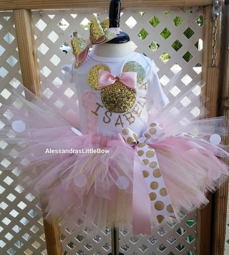 Pink and gold Deluxe Minnie Mouse Birthday Outfit