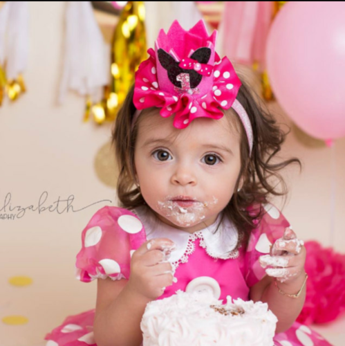 Small pink minnie mouse polka dots  crown with number