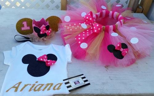 Pink and gold Minnie mouse birthday outfit 3 piece