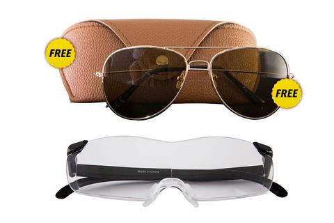 Zoom Vision 160% Magnification PLUS FREE Aviators FREE Glasses Case!