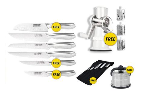 Worlds Best 6 Piece Knife Set FREE Santoku Knife PLUS FREE Sumo Slicer with Three Drums + FREE Sharpener over $300 in FREE GIFTS