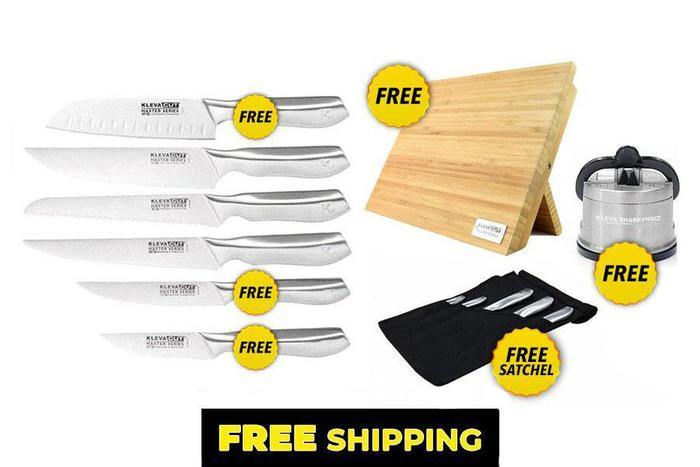 Worlds Best 6 Piece Knife Set FREE Santoku Knife PLUS FREE Magnetic Bamboo Knife Block + FREE Sharpener over $300 in FREE GIFTS