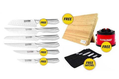 Worlds Best 6 Piece Knife Set FREE Santoku Knife PLUS FREE Magnetic Bamboo Knife Block + FREE Sharpener Original over $300 in FREE GIFTS