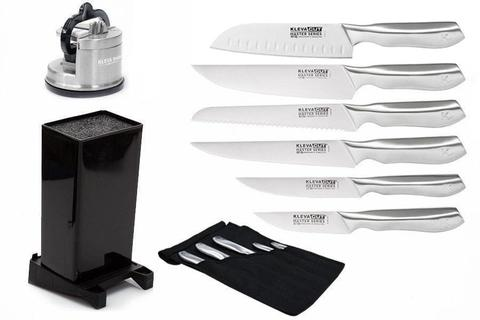 Worlds Best Knife Set 6 Piece including FREE Santoku Knife Plus FREE Knife Block + FREE Sharpener HURRY $180 OFF