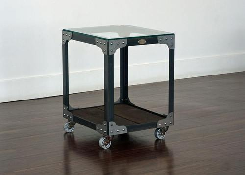 Industrial Glass Top End Table - Aircraft Factory Tool Trolley