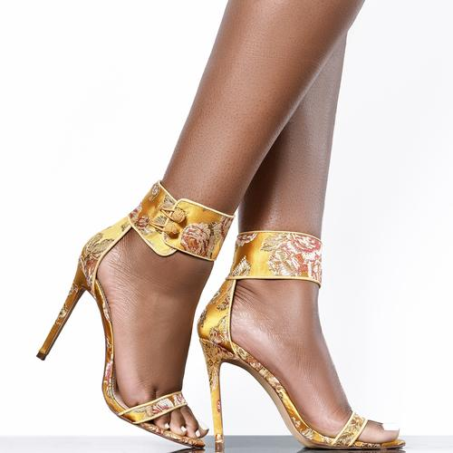 Tisha Floral Satin Ankle Cuff Heel (Yellow)