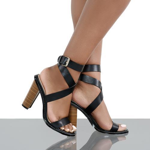 Sage Strap Retro Block Heel