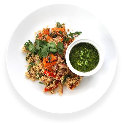 Quinoa salad with herb olive oil dressing and shredded chicken (DF, GF)