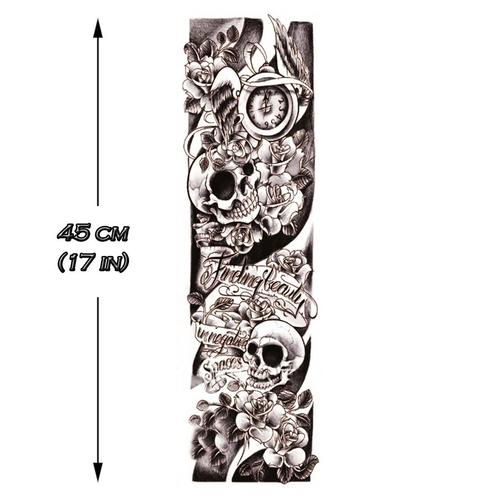 B&W Skulls Sleeve 2