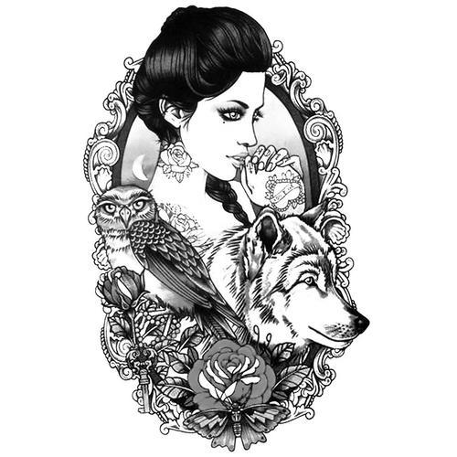 Woman Wolf - B&W