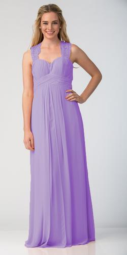Starbox USA Lilac Long Bridesmaids Dress Cut Out Back Empire Waist