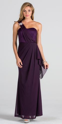 Embellished One Shoulder Long Formal Dress with Drape Eggplant
