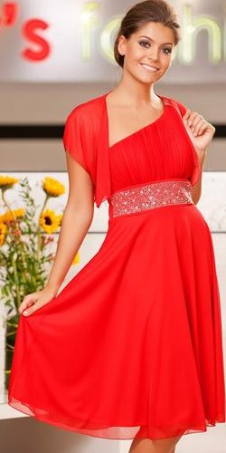CLEARANCE - Red Knee Length Cruise Dress One Shoulder Includes Bolero (Size 2XL)