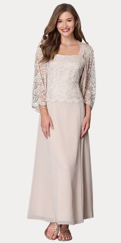 Long Chiffon Khaki Mother of Groom Dress Lace Long Sleeve Jacket