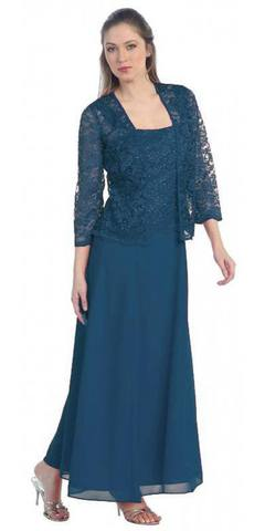 Long Chiffon Teal Mother of Groom Dress Lace Long Sleeve Jacket