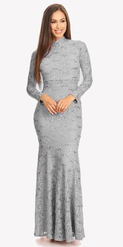 Long Sleeve Lace Full Length Dress Burgundy Mock 2 Piece High Neck