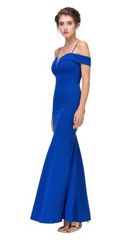 Royal Blue Off Shoulder Mermaid Style Evening Gown with Sweetheart Neckline