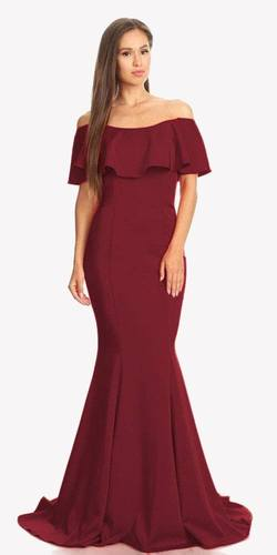 Burgundy Off Shoulder Ruffled Bodice Mermaid Floor Length Prom Gown