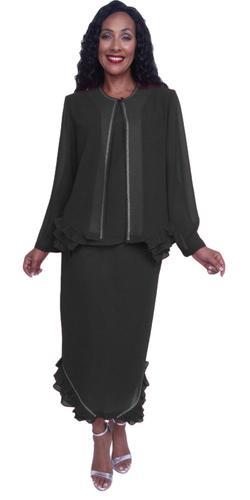CLEARANCE - Hosanna 3913 Black Ankle Length 3 Piece Dress Set Plus Size (Size 2XL, 5XL)