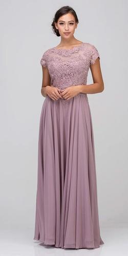 Mauve Short Sleeves Applique Bodice A-Line Long Formal Dress