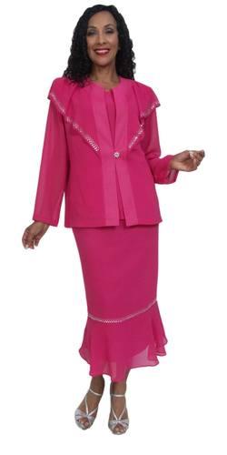 Hosanna 5034 Plus Size 3 Piece Set Fuchsia Ankle Length Dress