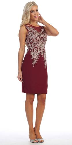 Knee Length Jersey Prom Dress Burgundy Embroidered Top